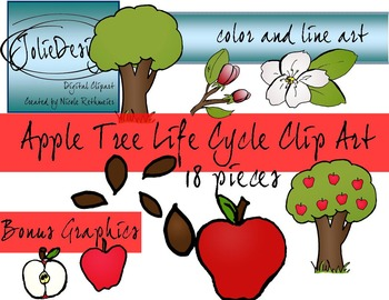 Apple Tree Life Cycle Science Clip Art - 18 pc set
