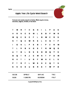 Apple Tree Life Cycle Word Search (Grades 1-3)