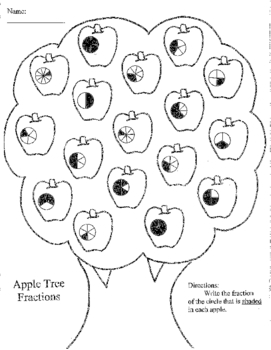 Apple Tree Math Activities ~ Add/Subtract, Shapes, Time, Fractions