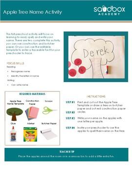 Apple Tree Names - Fall Preschool Activity