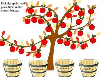 Apple Tree Note Sorting SMART Board activity
