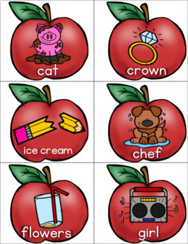 Literacy Center - Apple Nouns, Verbs, and Adjectives