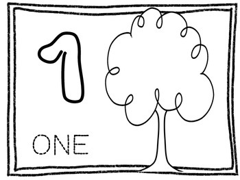 Apple Tree Play Dough Mats- Practice counting, writing, and spelling numbers