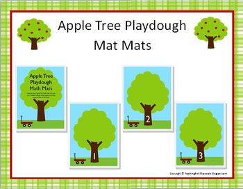 Apple Tree Playdough Math Mats for Preschool and Kindergarten