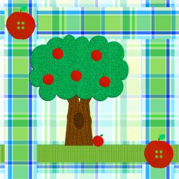 Apple Tree Quilt Square Clip Art