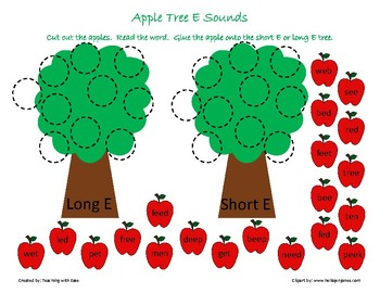 Apple Tree Sorting: Long and Short E Sounds