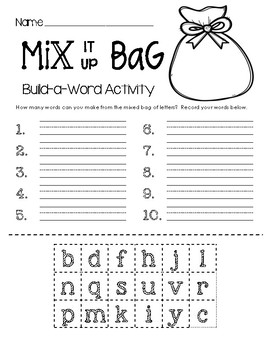 Build-a-Word Activity - Mix It Up Bag