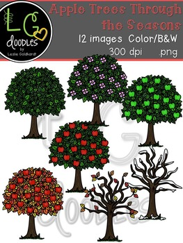 Apple Trees through the Seasons ~ by LG Doodles