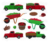 Apple Truck Clip Art - Apple Orchard Digital Graphics