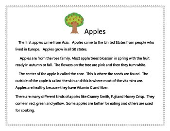 Apple Unit: First Grade Common Core