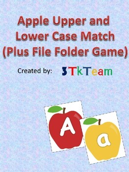 Apple Upper and Lower Case Letter Match (Plus File Folder Game)