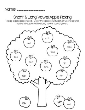 Apple Vowel Sorting Activity