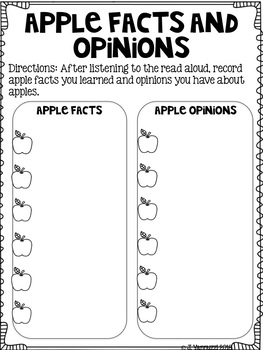 Apple Week Reading Response Sheets