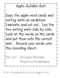 Apple Word Syllable Sort