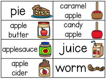 Apple Word Wall Vocabulary Cards
