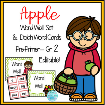 Apple Word Wall Word Cards- Editable