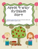 Apple Word Work Syllable Sort (Common Core Aligned)