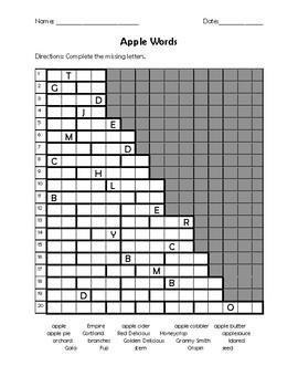 Apple Words Letterbox Puzzle by Teacher Chip's School Store | TpT