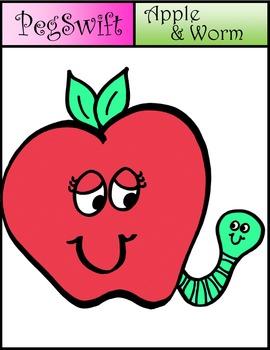 Apple & Worm Clip Art * FREE*