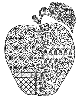 Apple Zentangle Coloring Page