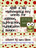 Apple a Day Addition, Subtraction, Multiplication & Division Math Key Words