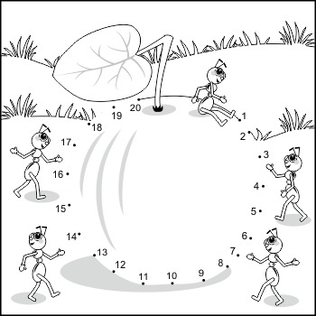 Apple and Ants Connect the Dots and Coloring Page, Commercial Use Allowed