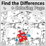 Apple and Ants Find the Differences and Coloring Page, Commercial Use Allowed