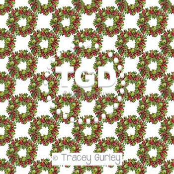 Apple and Berry Wreath on White digital paper Printable Tracey Gurley Designs