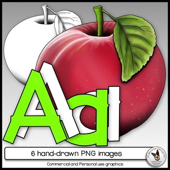 Apple and Letter A Realistic Clip Art