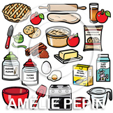 Apple and Ingredients, 50 clipart