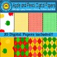 Apple and Pencil Digital Paper Backgrounds
