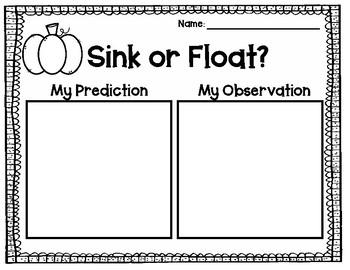 Apple and Pumpkin Sink Or Float FREEBIE