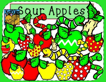 Apple and Worm Clip Art Back to School Kid-E-Clips Commercial Personal