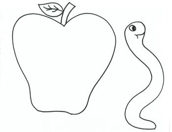 Apple and Worm Printable