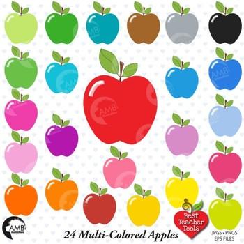 Apple clipart, 24 multi-colored apple clipart, {Best Teacher Tools} AMB-139
