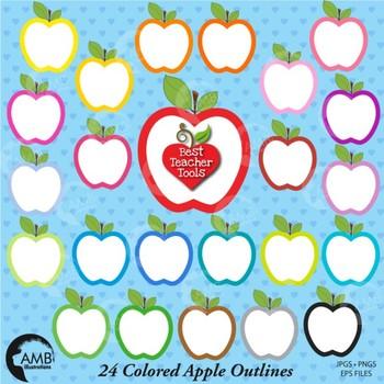 Apple Clipart, Apple Outline cliparts, {Best Teacher Tools}  AMB-140