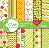 Digital Papers, Apple Themed Scrapbooking Papers and Backgrounds, AMB-135
