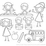 Apple for Teacher Stick Figures Cute Digital B&W Stamps, Line Art, Blackline