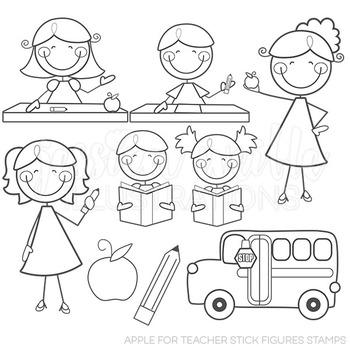 Apple for Teacher Stick Figures Cute Digital B&W Stamps, L