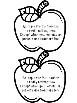 Apple for the Teacher Coloring Page & Poem - Open House or Curriculum Ni