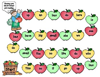 Apple game board for high frequency words