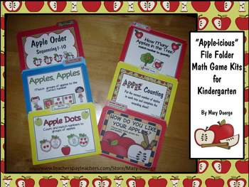 6 Kindergarten Apple-Themed File Folder Math Game Kits and Worksheets