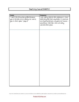 Apple in the Middle by Dawn Quigley: Dual Entry Reading Journal