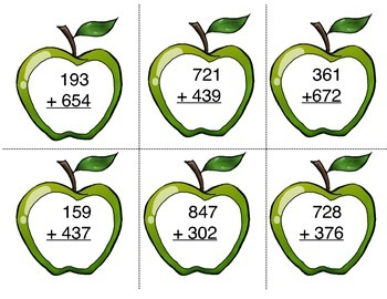 Apple-licious Adding Math Center Game