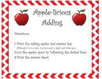 Apple-licious Adding Math Center Game