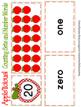 Apple'licious Counting Sets and Number Words 0 - 20