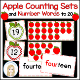 Apple Counting Sets and Number Words to 20 Activities with