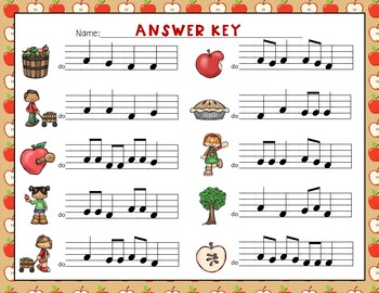 Apple of My Eye! Scavenger Hunt: Write the Room Melodies - Practice Re