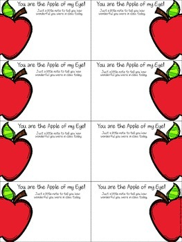 Apple of my Eye Positive Behavior Slips
