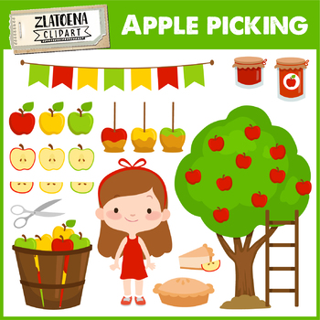 Apple picking clipart Apple clip art Orchard Clipart Harvest clipart Fall set